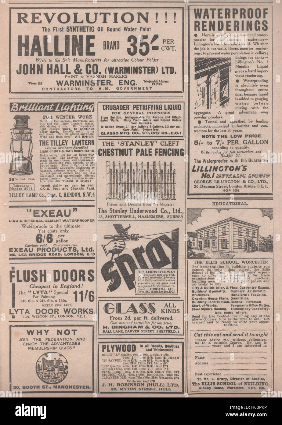 Vintage advertisement selection for hardware tools and building supplies and services dated January 17th 1936 in - Stock Image