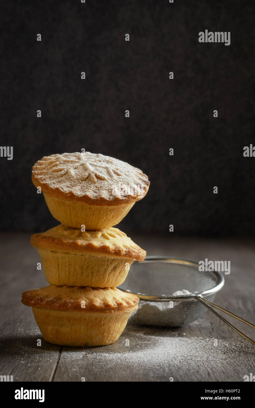 Stack of mince pies for Christmas - Stock Image