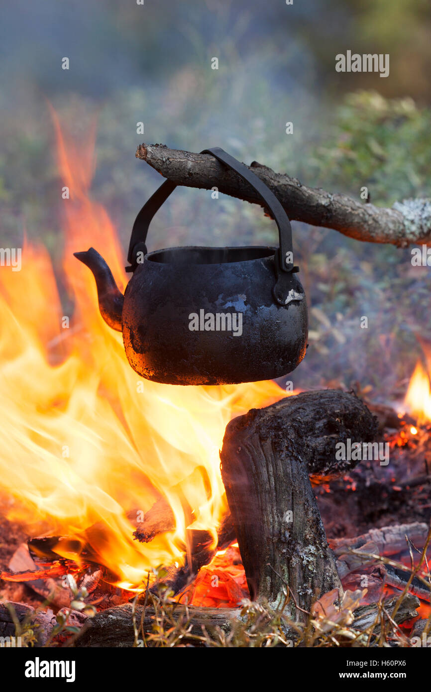 Blackened tin kettle from soot boiling water over flames from campfire during hike in forest - Stock Image