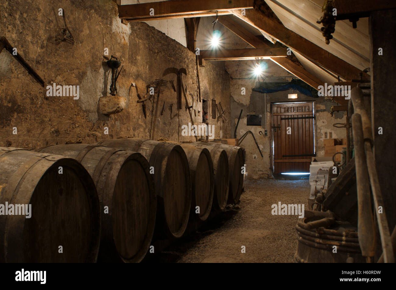 Cellar, jars, old room furnishings of one of the nearby wine growers to Cheverny, Loire Valley, France. - Stock Image