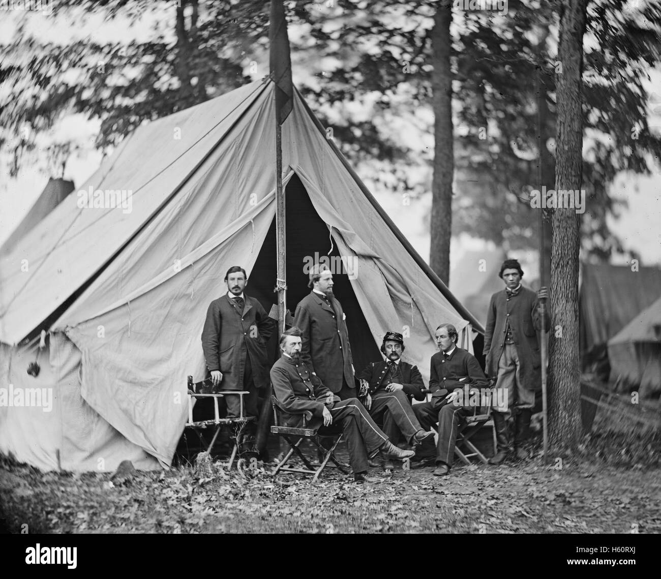 Dr. Jonathan Letterman, Medical Director of the Union Army of the Potomac, and Staff, Portrait, Warrenton, Virginia, - Stock Image