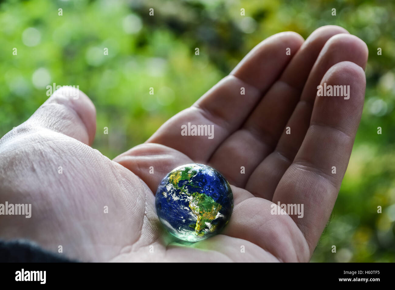 human hand holding planet earth - Stock Image
