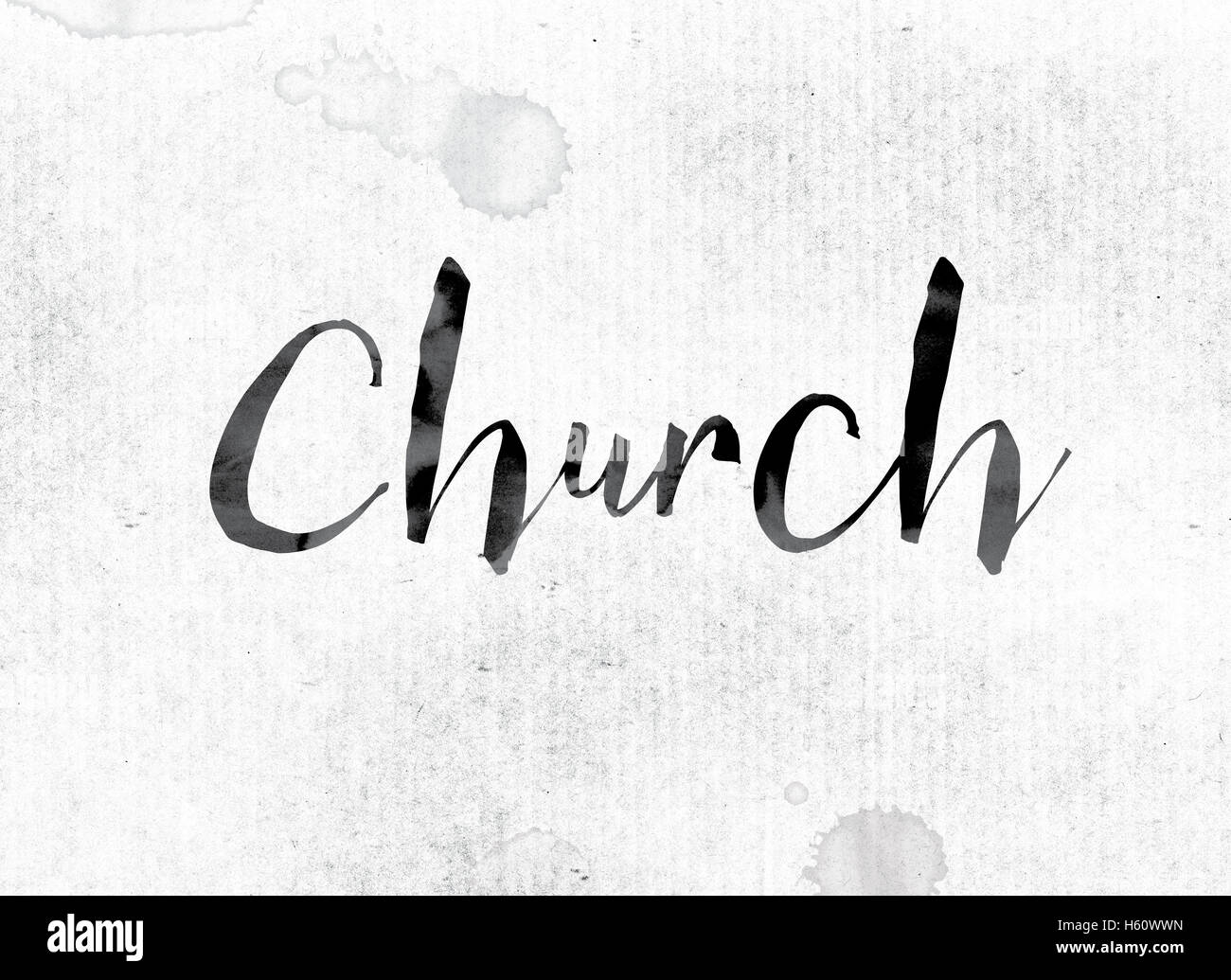 "The word ""Church"" concept and theme painted in watercolor ..."