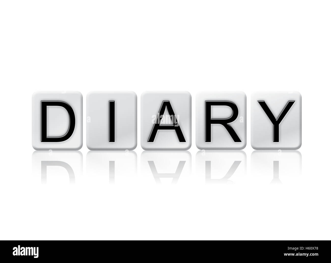 the word  u0026quot diary u0026quot  written in tile letters isolated on a