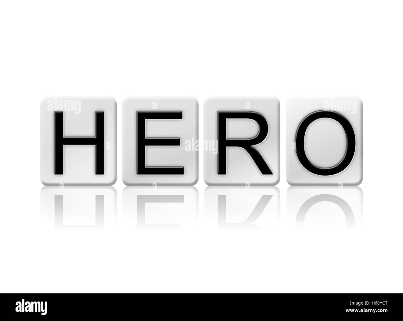 """The word """"Hero"""" written in tile letters isolated on a white background. Stock Photo"""