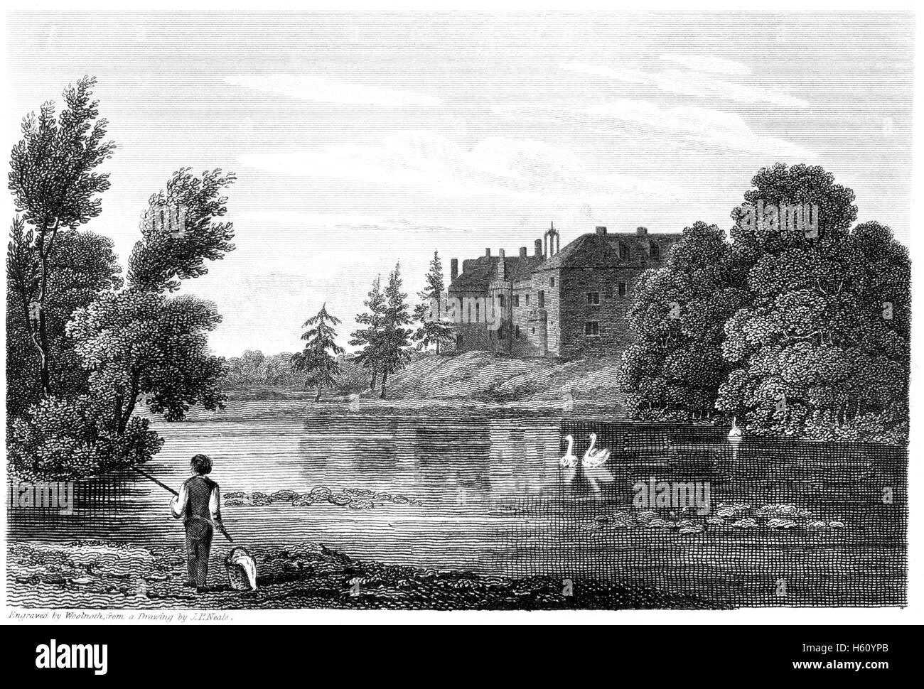 Engraving of Hartlebury Castle, Worcestershire scanned at high resolution from a book printed in 1812. Believed - Stock Image