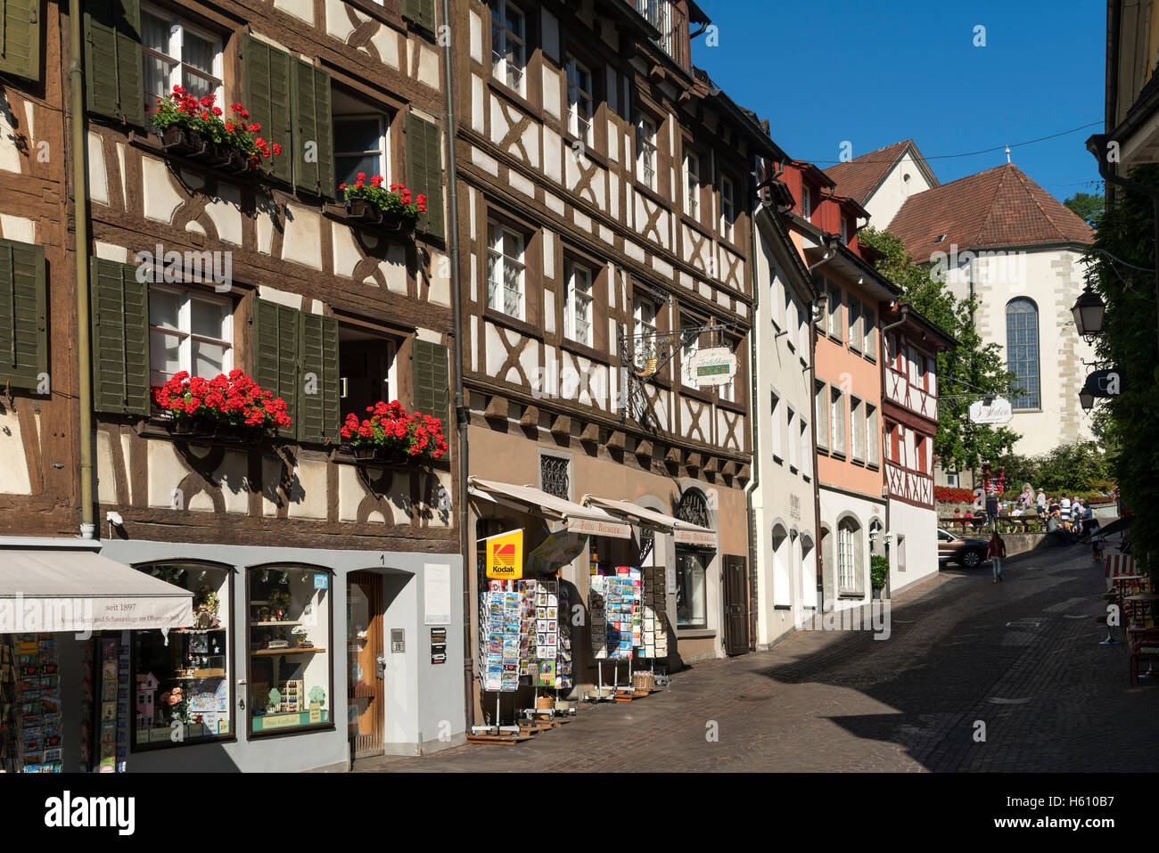 half-timbered buildings in Meersburg at Lake Constance,  Baden-Württemberg, Germany, - Stock Image