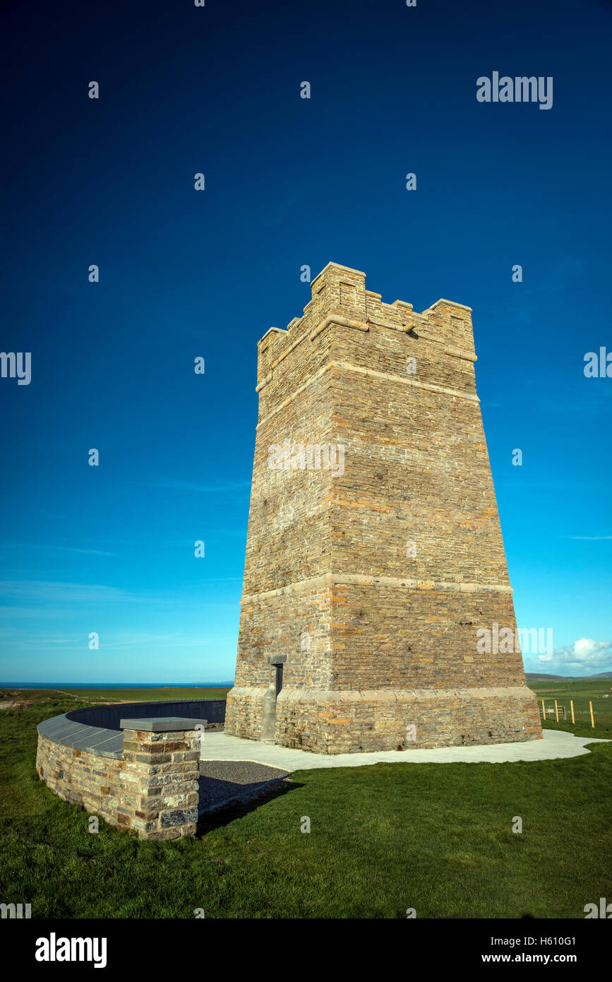 The Kitchener Memorial Tower on the cliffs at Marwick Head, Mainland Orkney, Scotland, UK - Stock Image