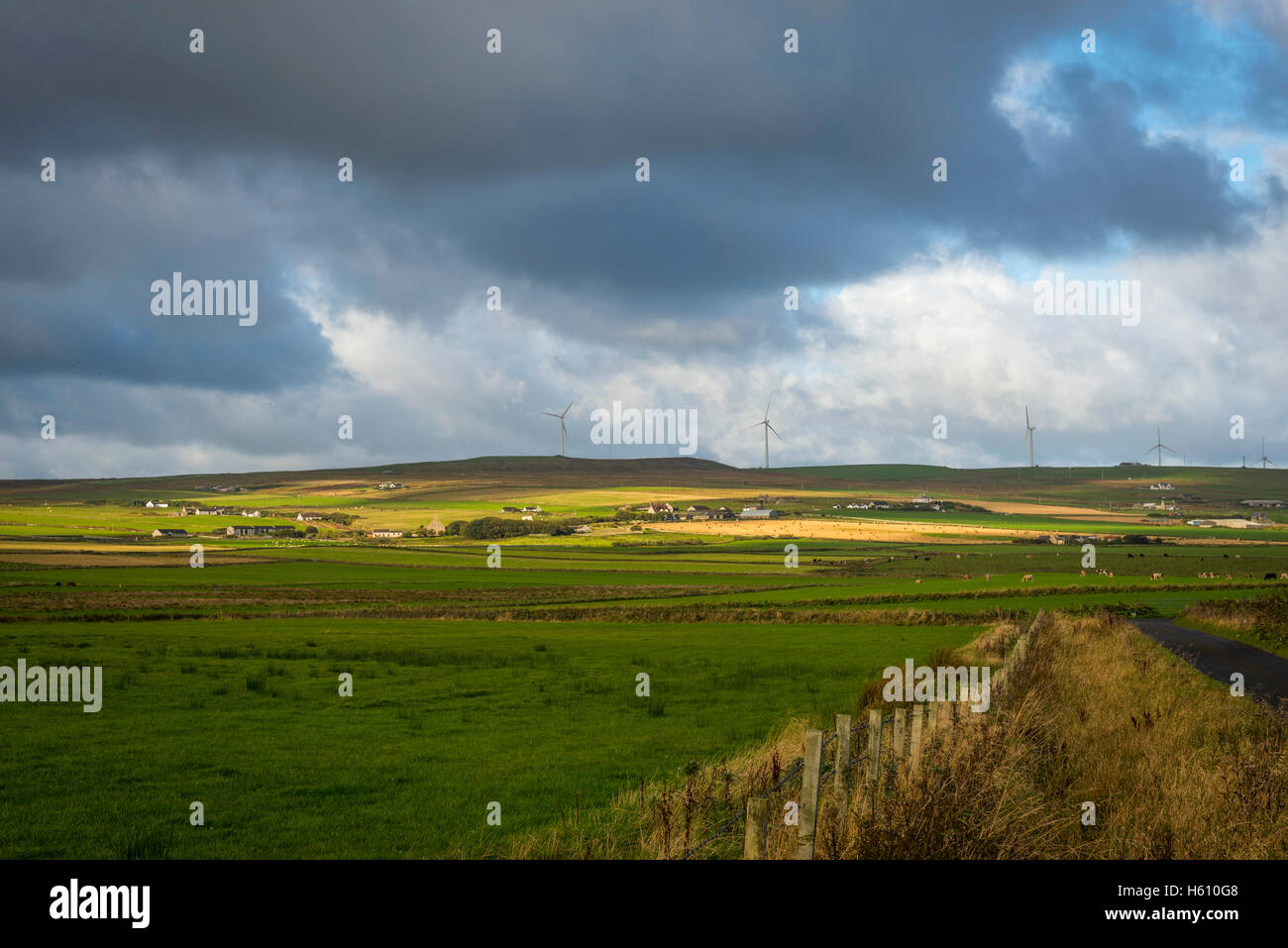 Farms and wind turbines near Evie on Mainland Orkney, Scotland, UK - Stock Image