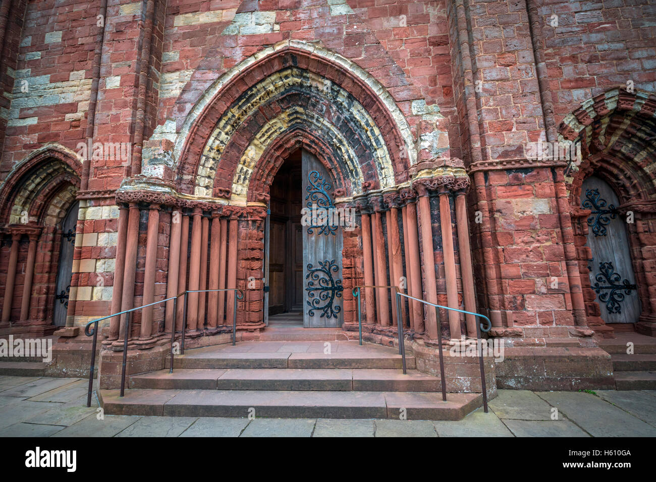 The entrance to Saint Magnus Cathedral in Kirkwall, Mainland Orkney, Scotland, UK - Stock Image