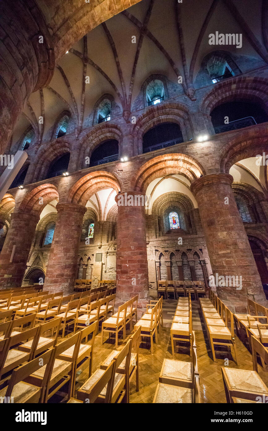 The interior of Saint Magnus Cathedral in Kirkwall, Mainland Orkney, Scotland, UK - Stock Image