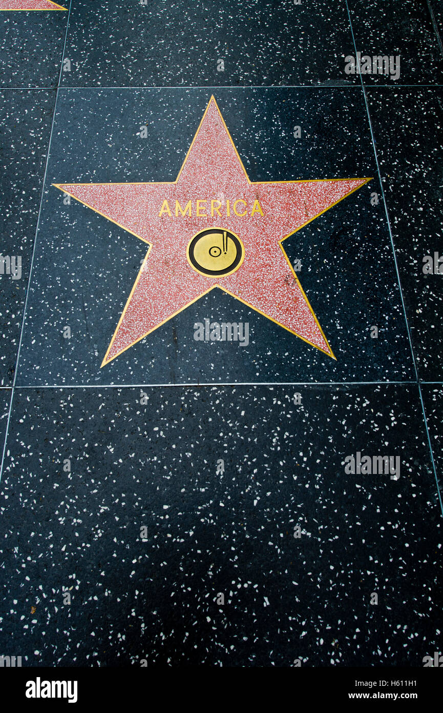 America star at the Walk of Fame in Hollywood - Stock Image