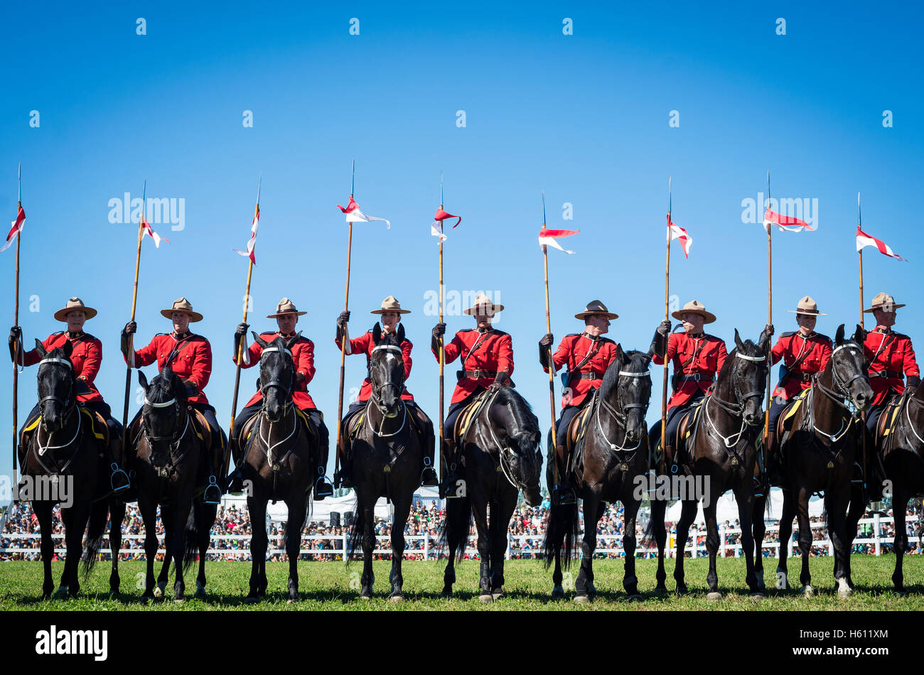 Royal Canadian Mounted Police at the International Plowing Match and Rural Expo in Minto, Ontario Canada - Stock Image