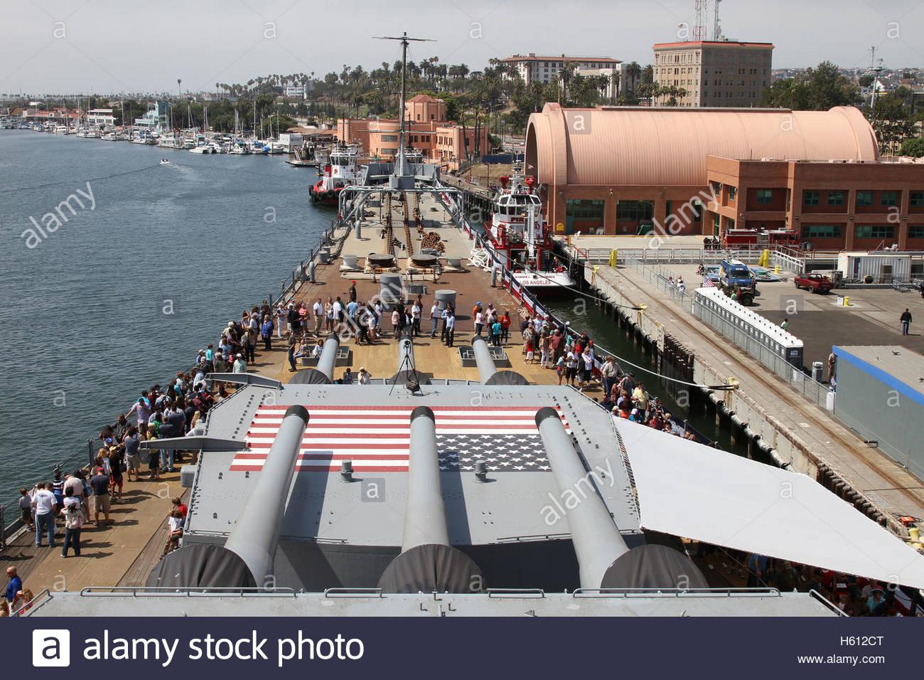 USS Iowa, first public tour July 7 2012, battleship, warship, U.S Navy - Stock Image