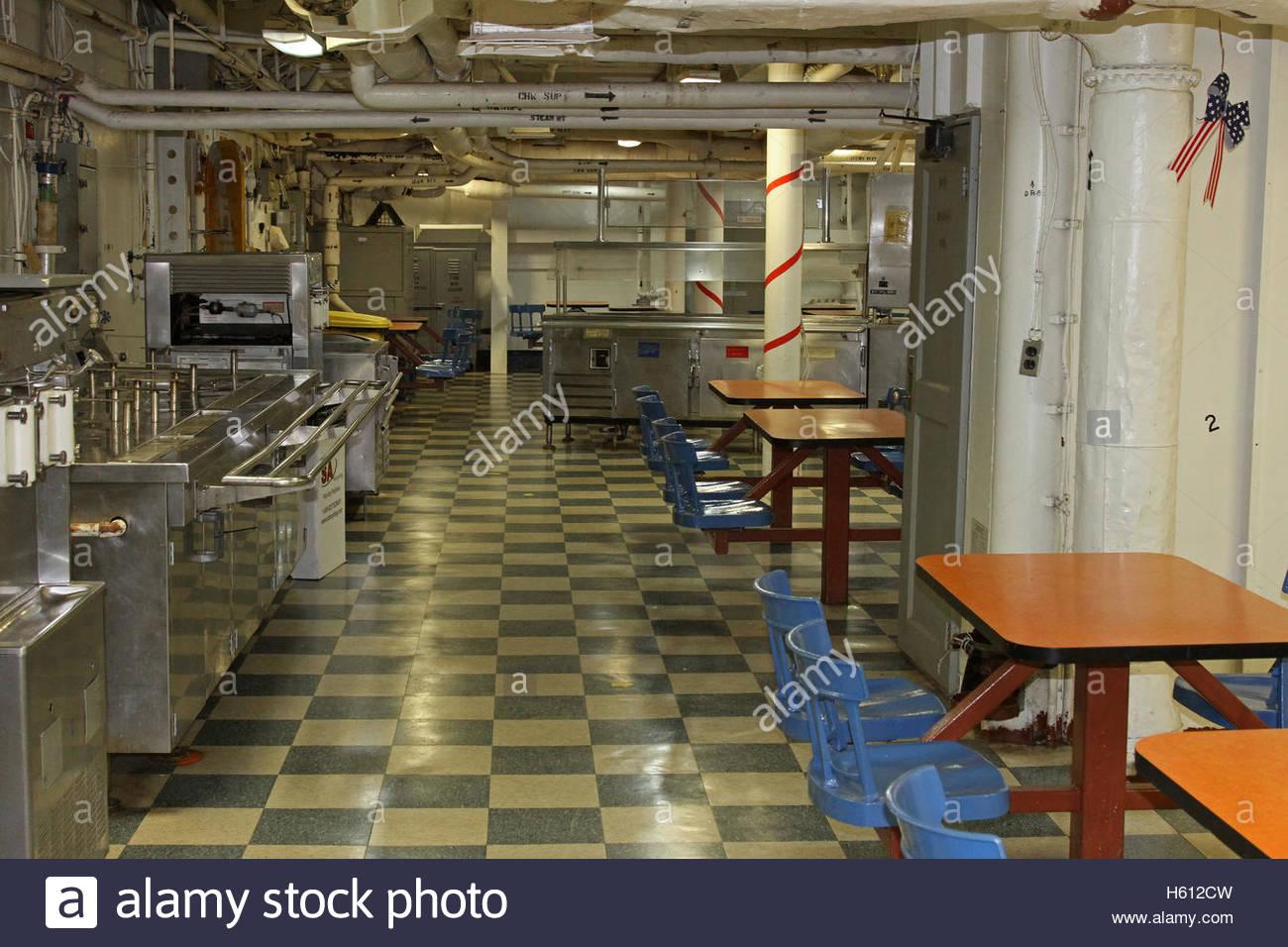 USS Iowa, mess hall, San Pedro California, first public tour July 7 2012, historic battleship, U.S. Navy - Stock Image