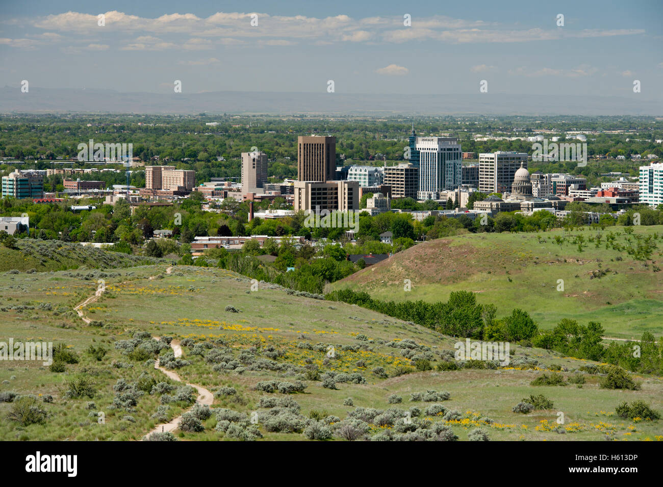 Boise Idaho looking south from foothills - Stock Image