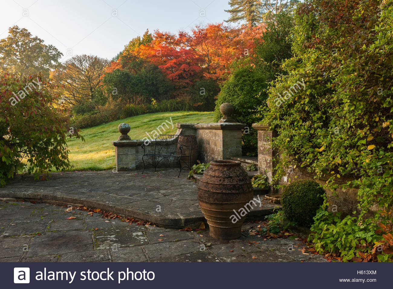 patio terrace srone bench - Stock Image