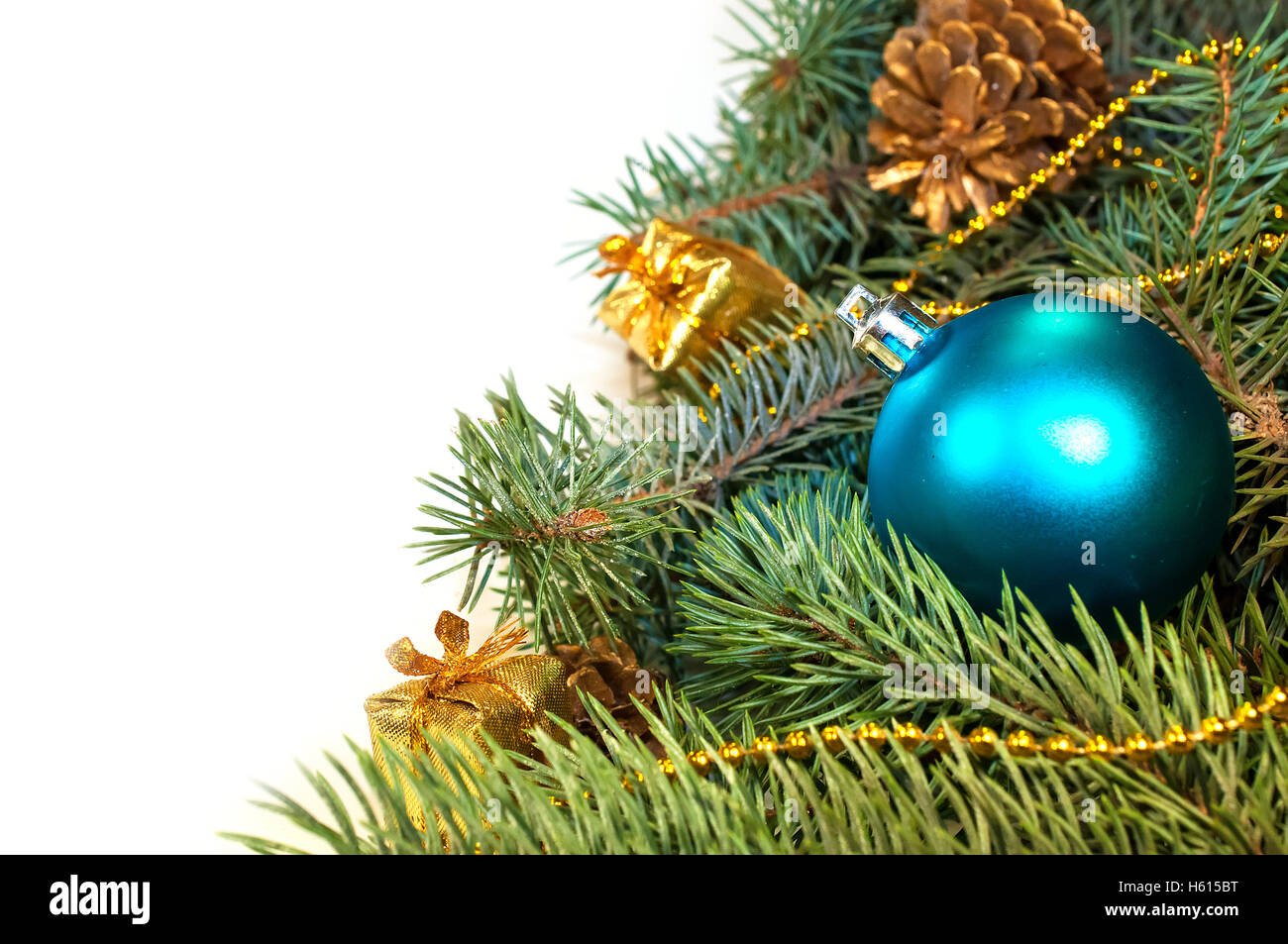 furry christmas tree branches with cones gifts stock image - Furry Christmas