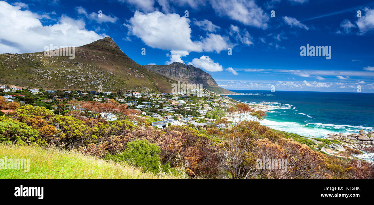 Cape Town panoramic landscape, Camps Bay and Lion's Head mountain, beautiful coastal city, famous touristic - Stock Image