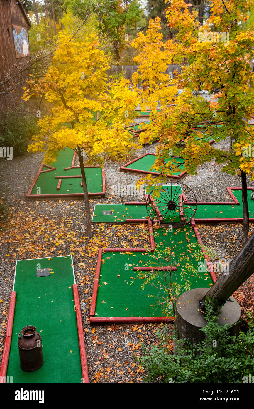 An outdoor putt putt course in Winthrop, Washington. - Stock Image