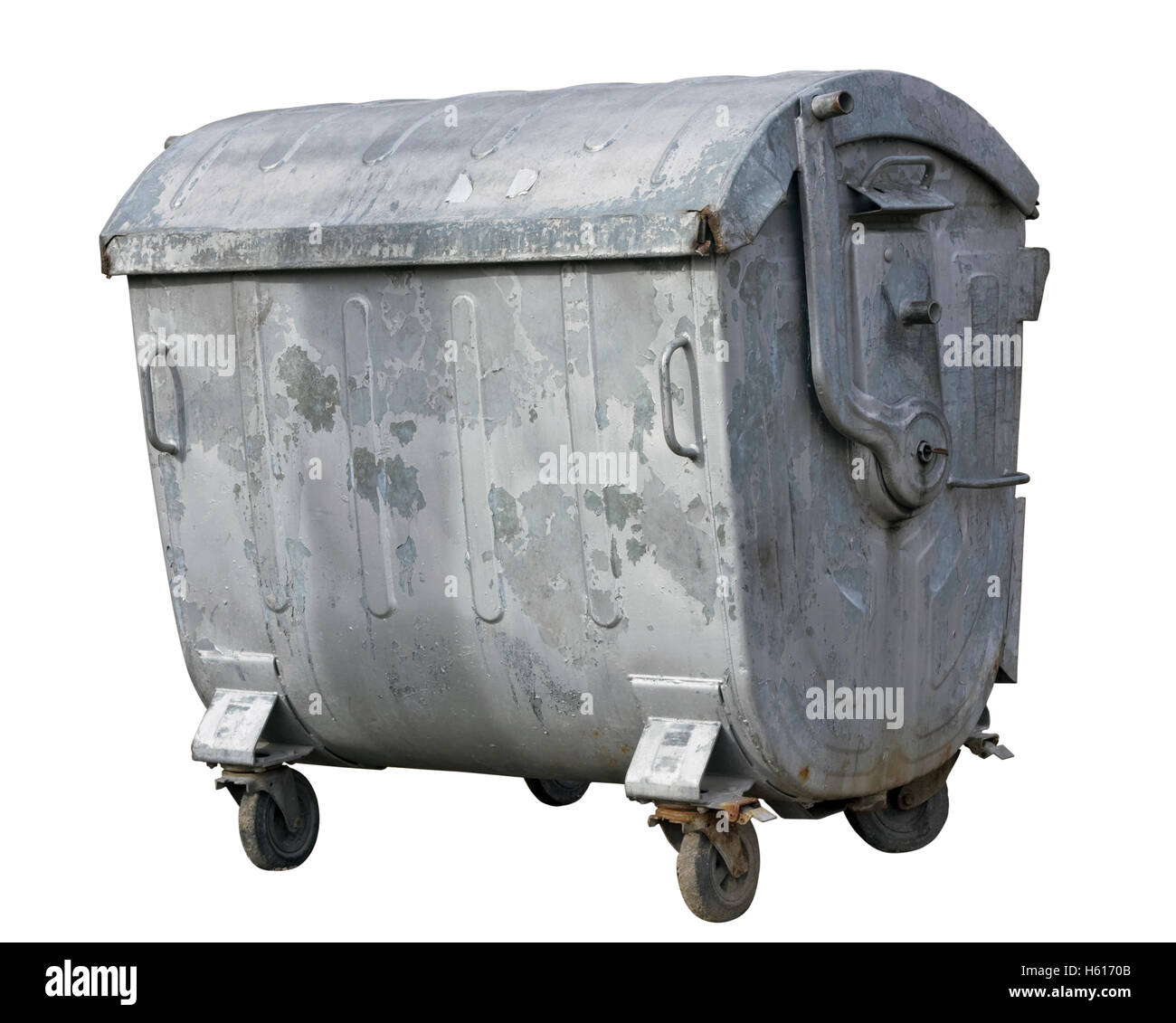 Retro steel ragged rusted  galvanized trash bin. Isolated with patch - Stock Image