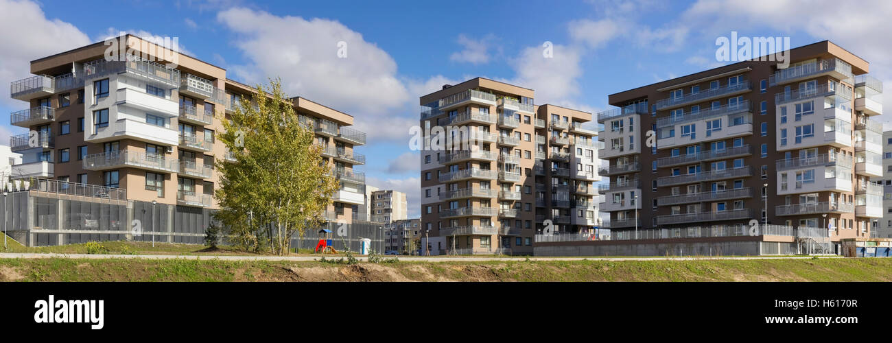 Vilnius lithuania october 16 2016 the new modern standard modular homes with