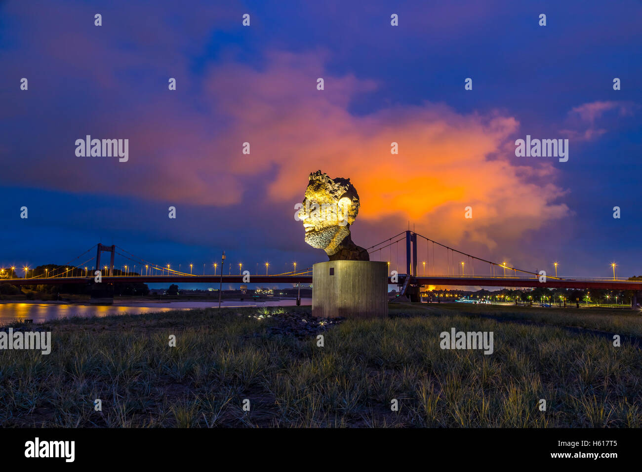 Sculpture 'The Echo of Poseidon', on the Mercatorinsel, in the Ruhrort inland port Duisburg, Germany, by - Stock Image