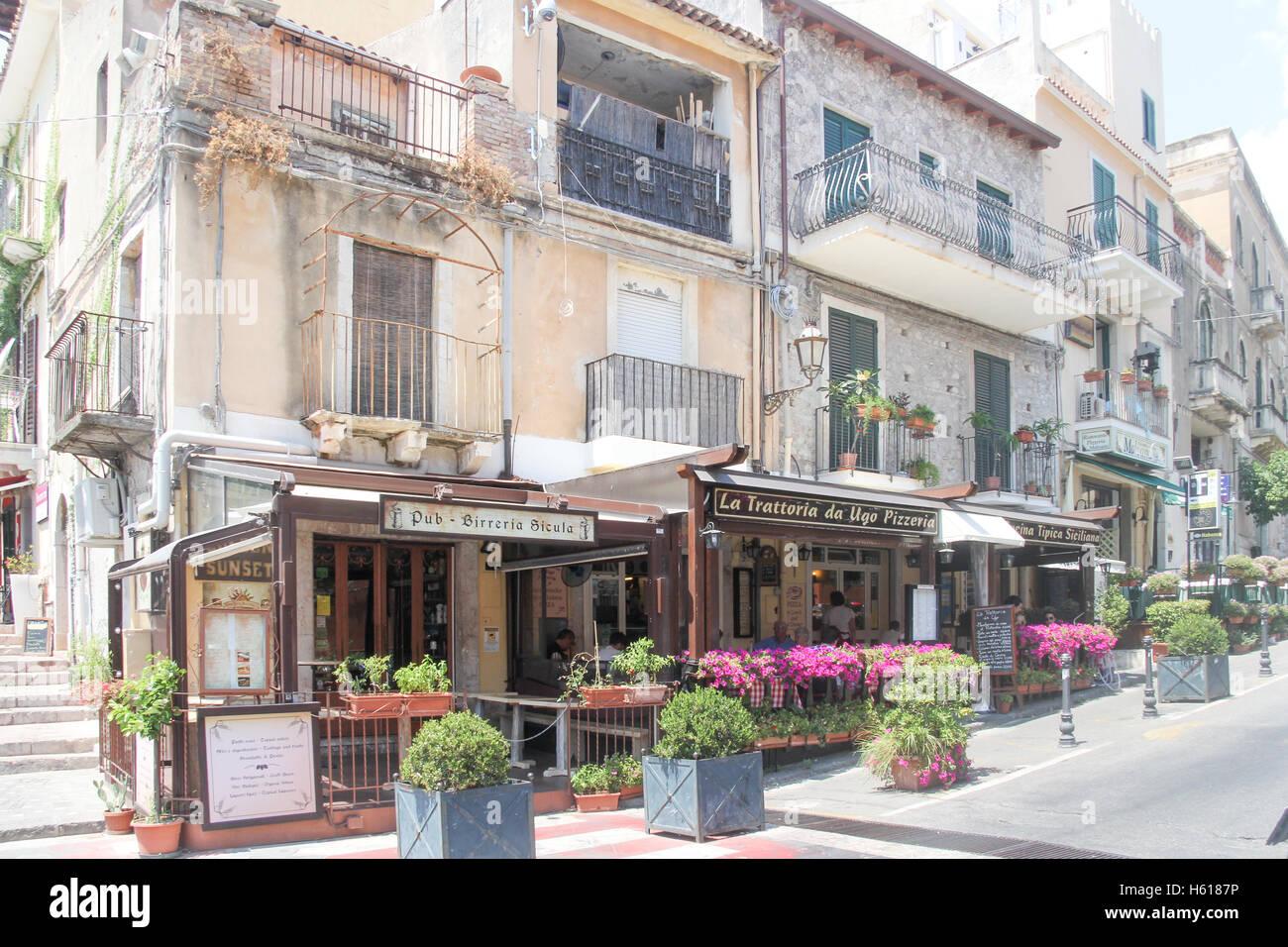 Bars And Restaurants In Taormina Sicily Italy Stock Photo