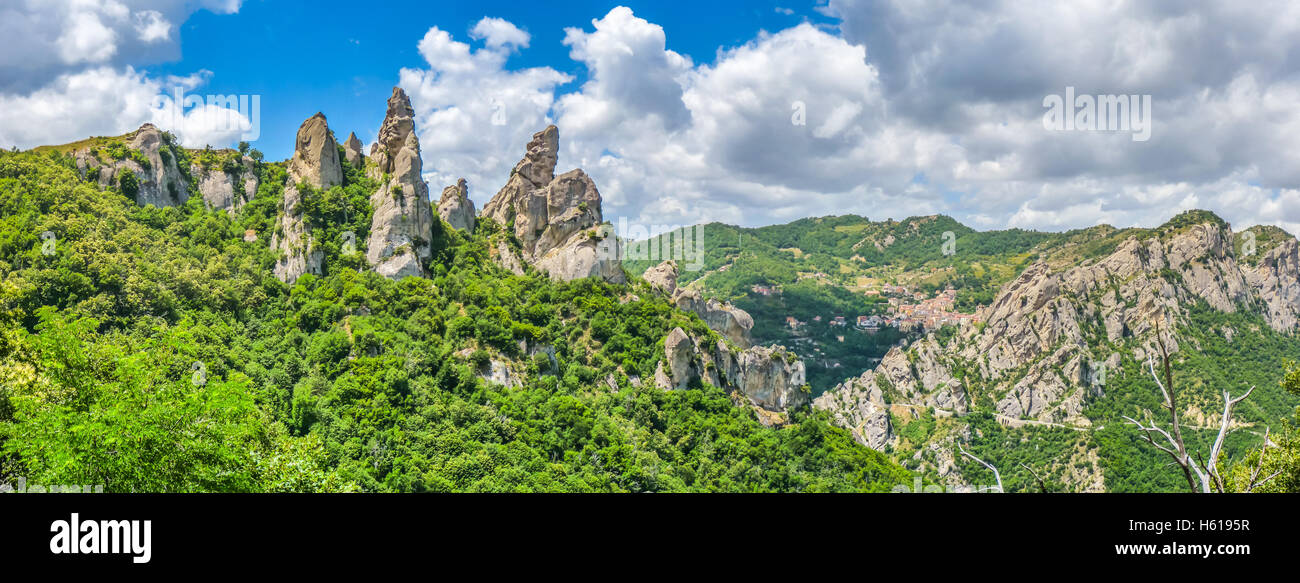 Panoramic view of the famous Lucan Dolomites with beautiful mountain village of Castelmezzano, one of 'The most Stock Photo