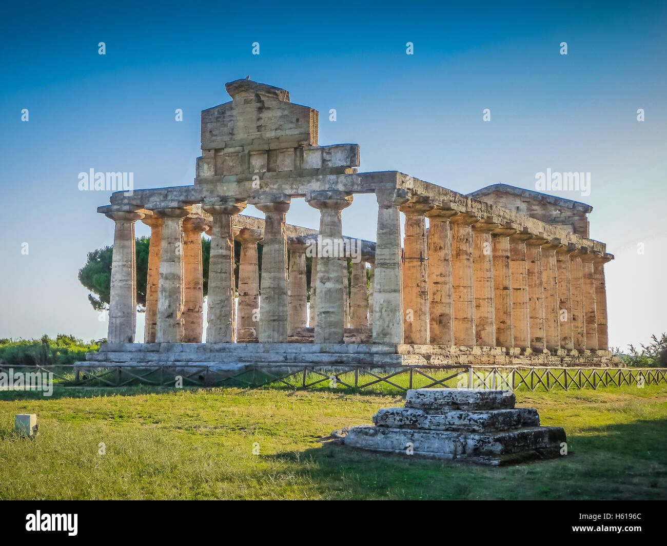 Ancient temple at famous Paestum Archaeological UNESCO World Heritage Site, which contains some of the most well - Stock Image