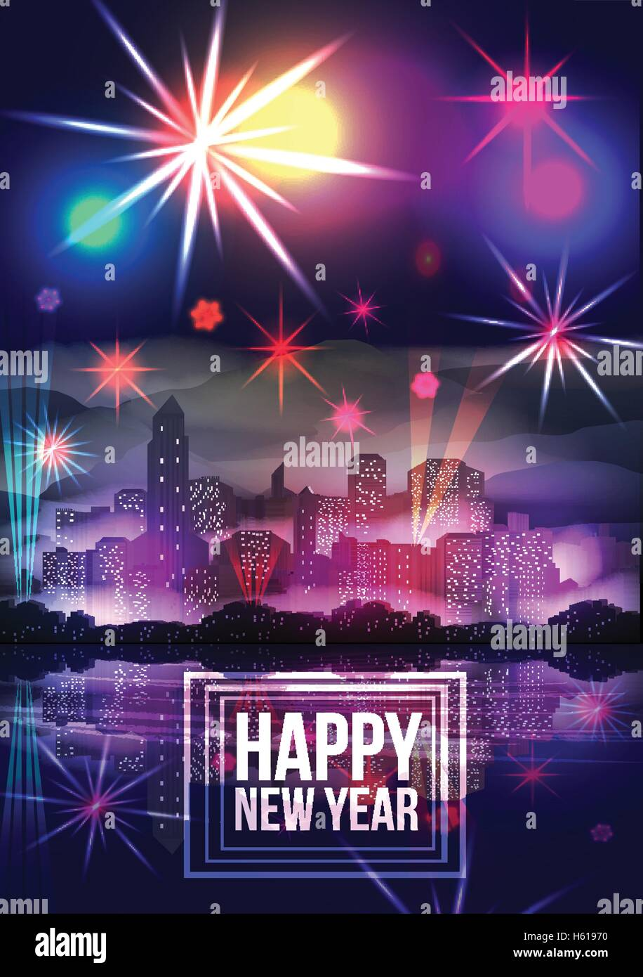 new year party poster template with city skyline and fireworks vector illustration