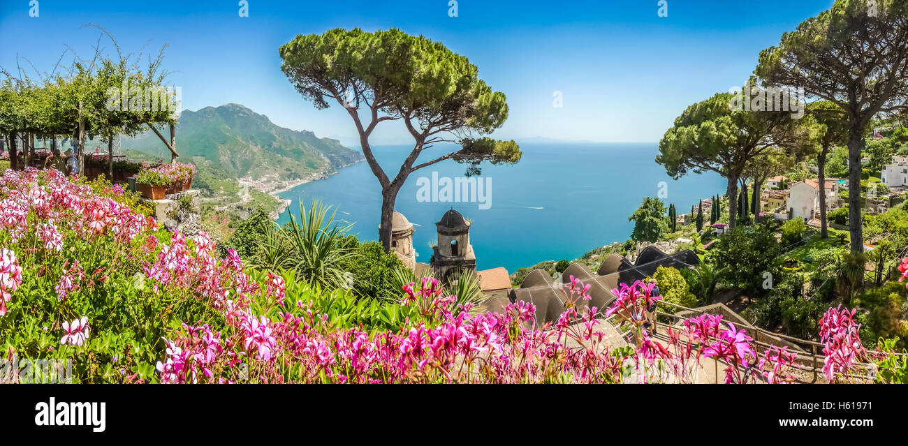 Scenic picture-postcard view of famous Amalfi Coast with Gulf of Salerno from Villa Rufolo gardens in Ravello, Campania, - Stock Image