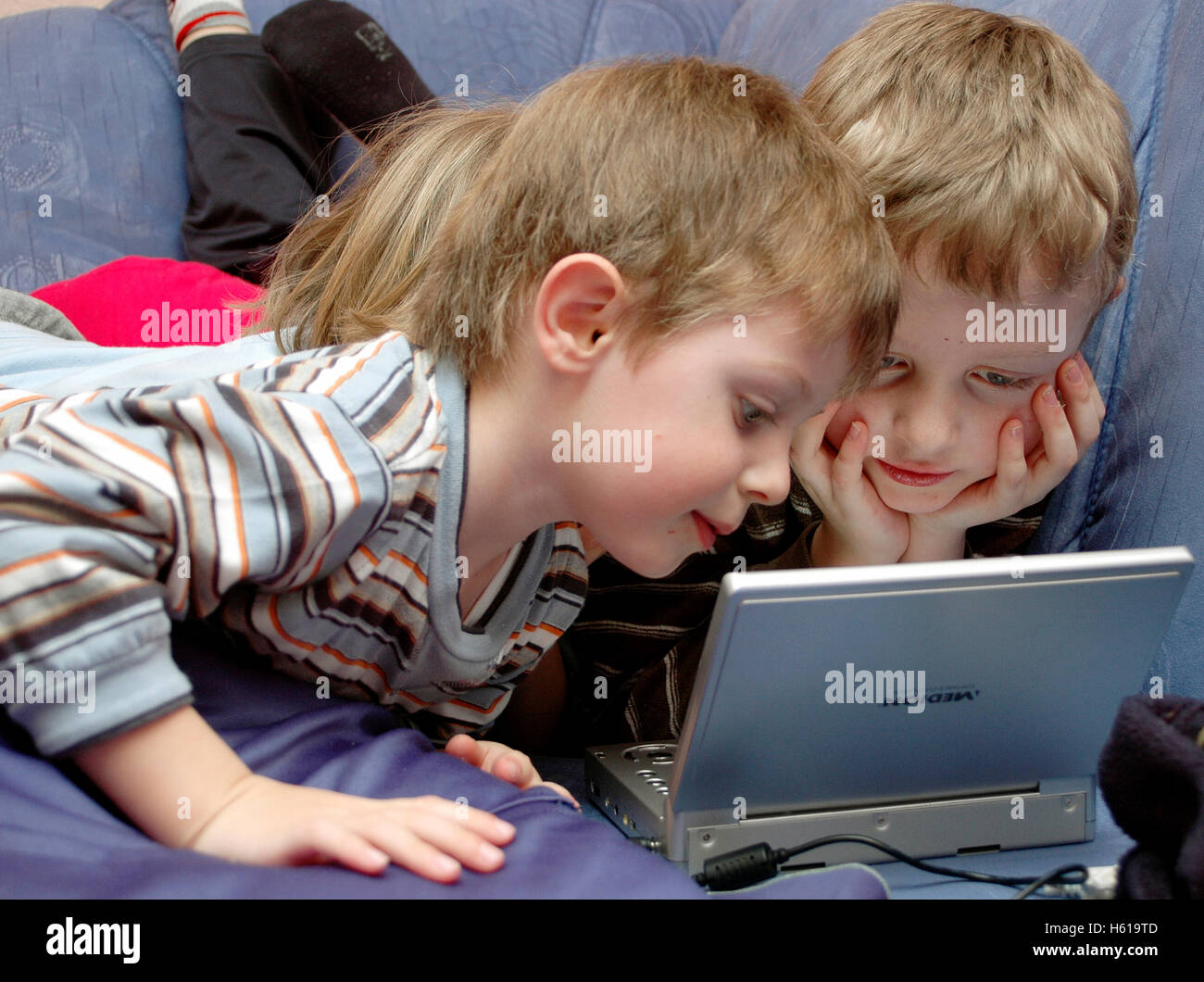 Children with notebook Stock Photo