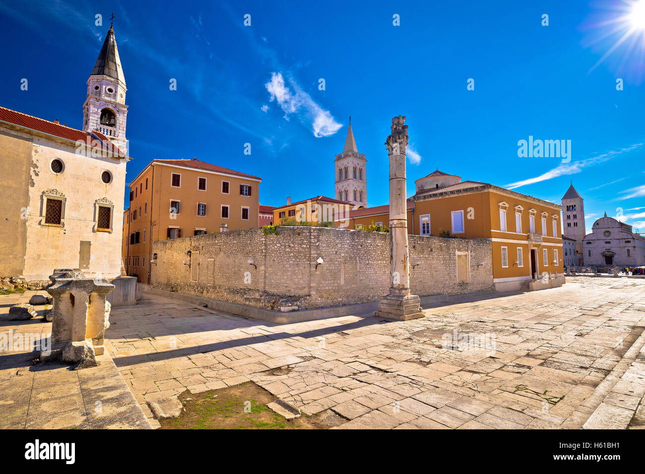 Ancient landmarks of Zadar view, Dalmatia, Croatia - Stock Image