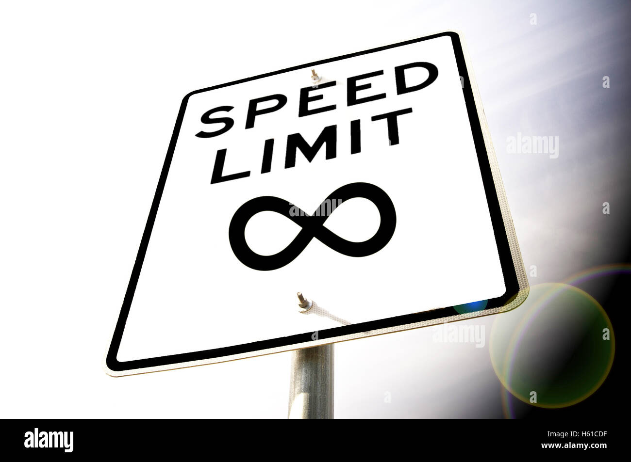 Speed Limit Infinity Sign - Stock Image