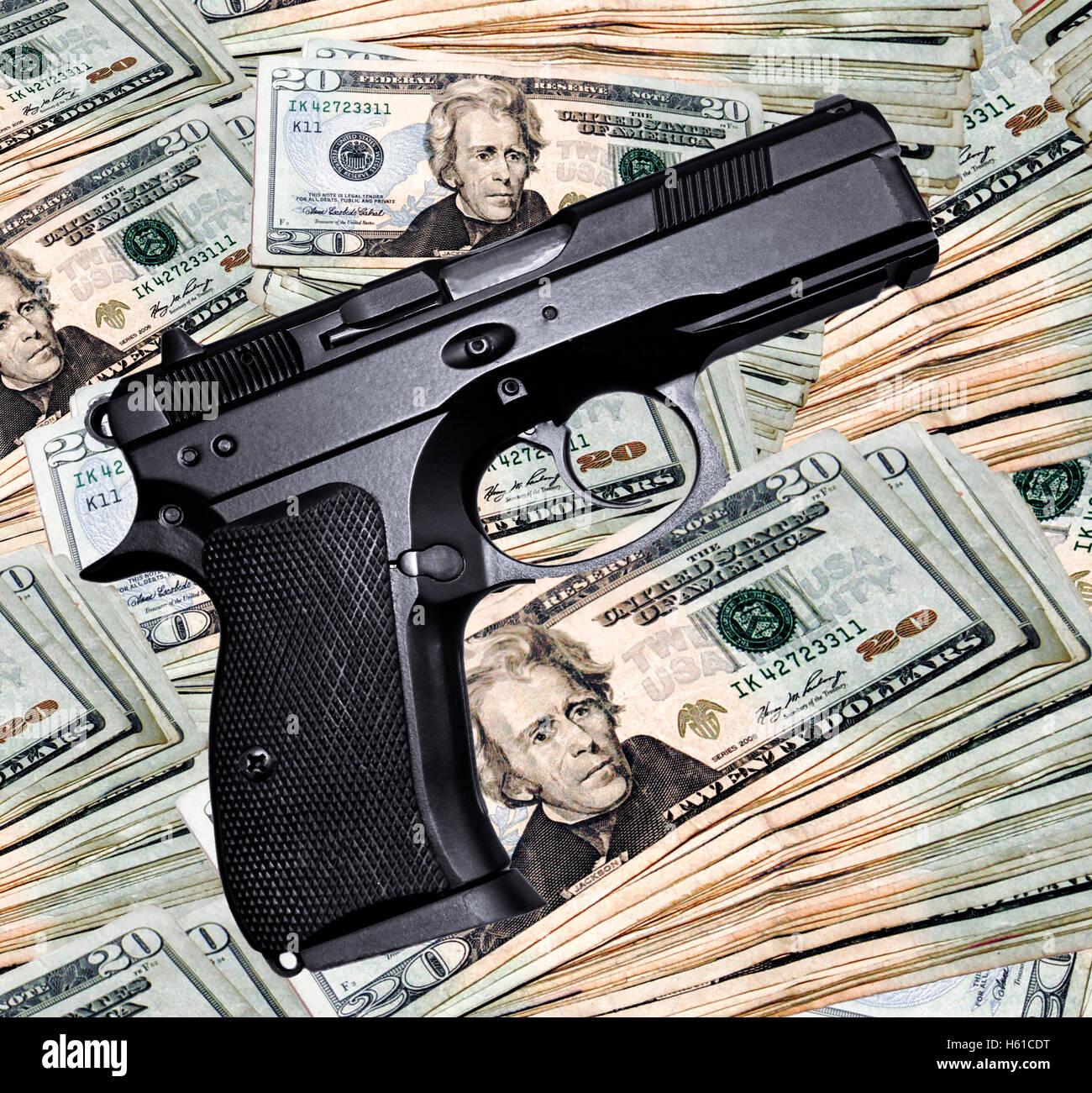 Handgun & Money - Stock Image