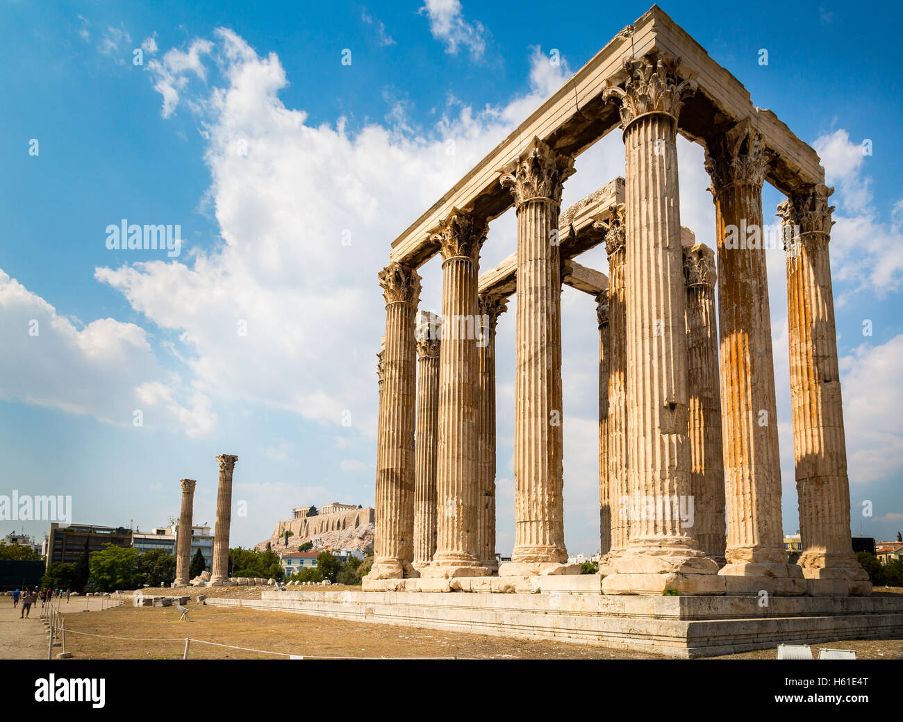 Temple of Olympian Zeus with Parthenon in background. - Stock Image