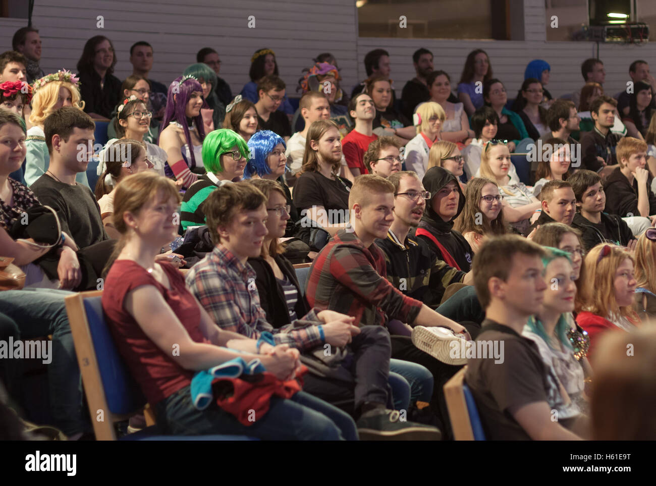 BRNO, CZECH REPUBLIC - APRIL 30, 2016: Auditorium of young people  in lecture hall listens talks  at Animefest, - Stock Image