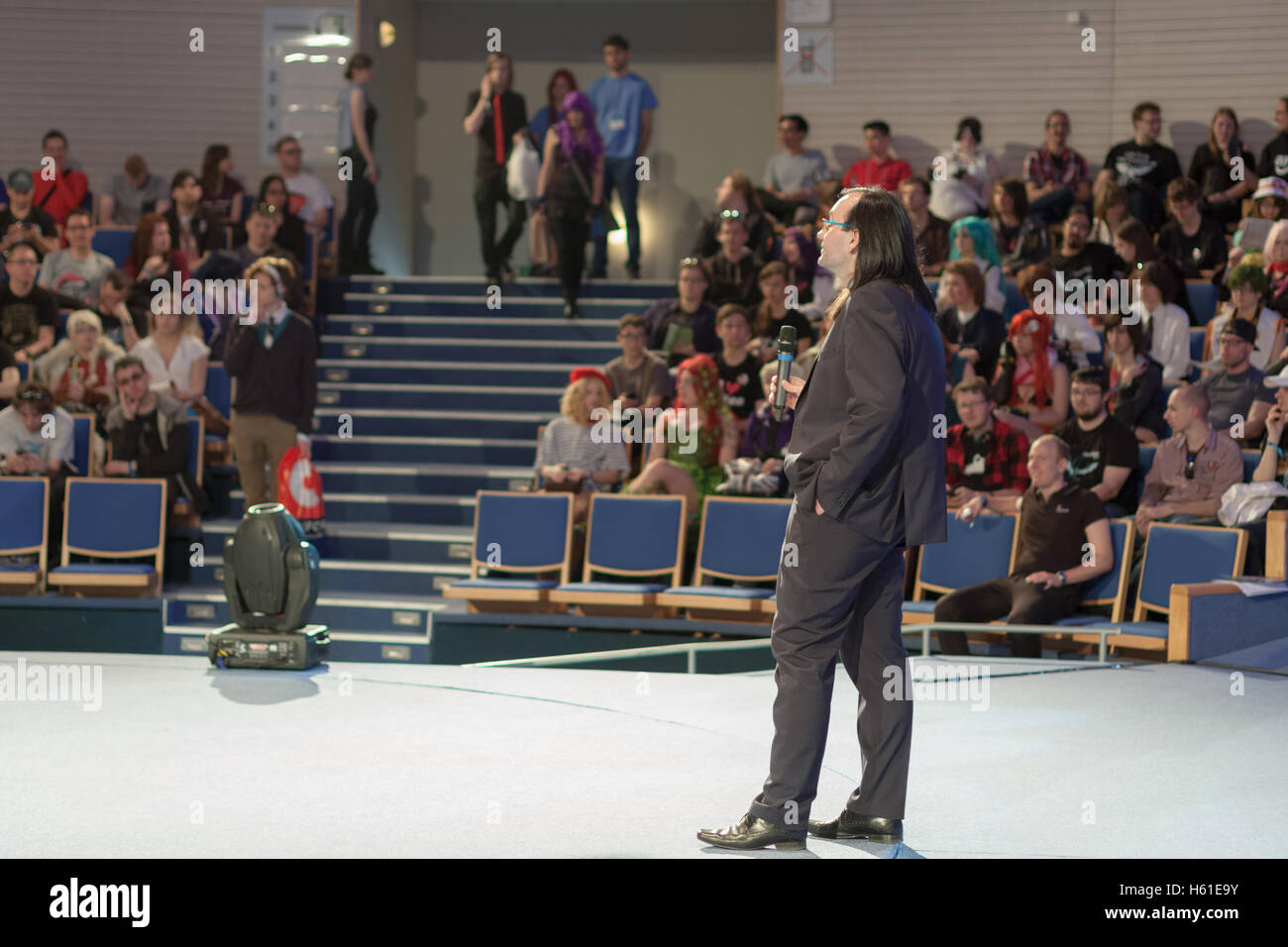BRNO, CZECH REPUBLIC - APRIL 30, 2016:  Speaker during talks about love in Anime movies  at Animefest, anime  convention - Stock Image