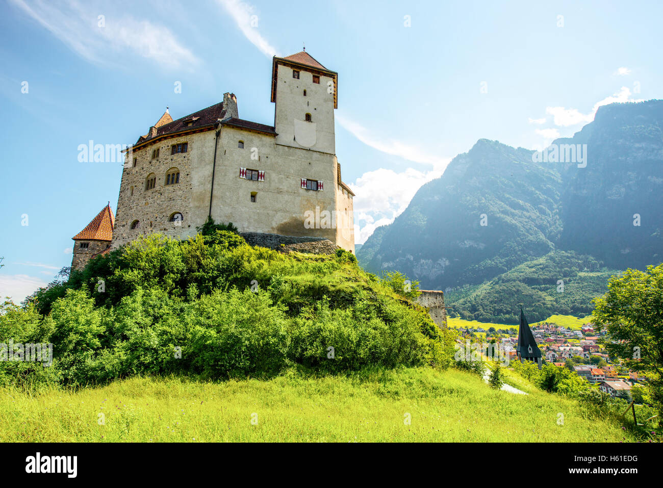 Gutenberg castle in Liechtenstein - Stock Image