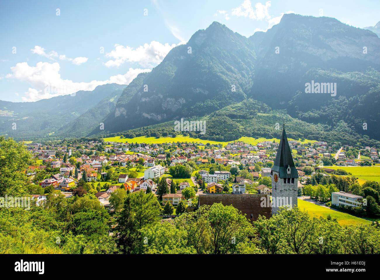 Balzers village in Liechtenstein Stock Photo
