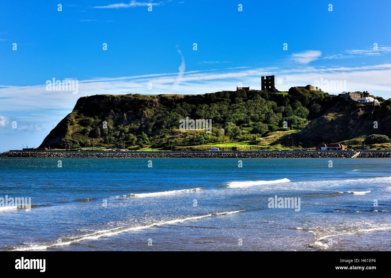 Scarborough North Bay with the castle in the distance,North Yorkshire,England UK - Stock Image