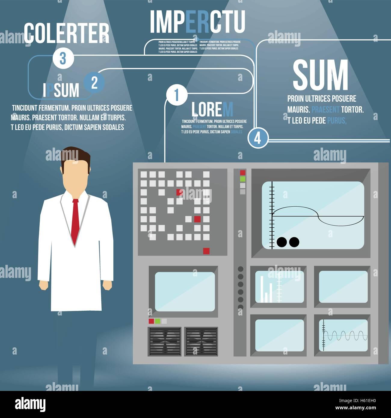 Scientist in Lab Concept with Retro Computer Device - Vector