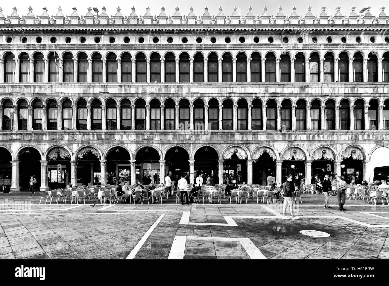 Venice, Italy - October 16, 2016:Tourists in Piazza San Marco in Venice, the famous Italian romantic city - Stock Image