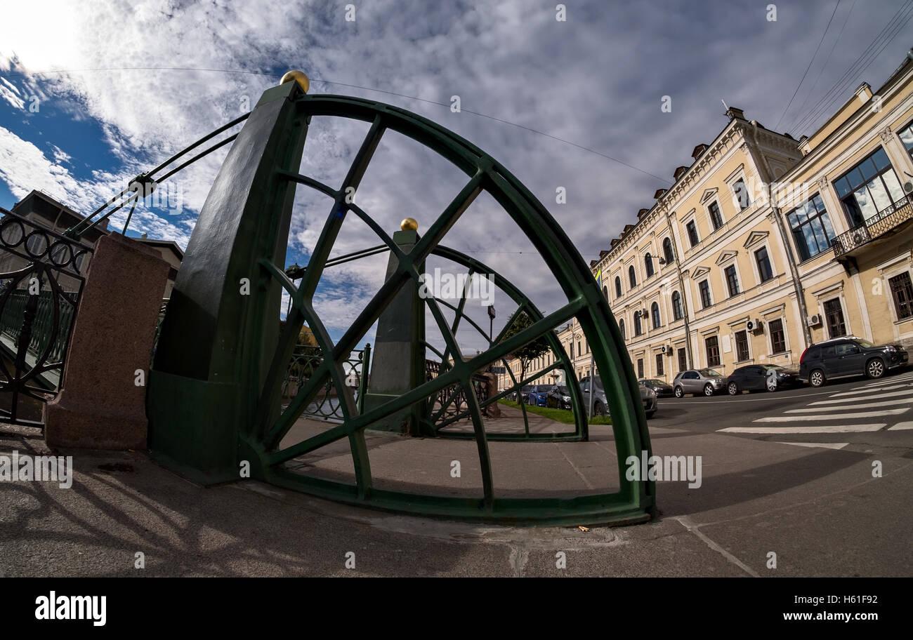 Embankment of Moyka river at Postoffice bridge in Saint-Petersburg, Russia - Stock Image