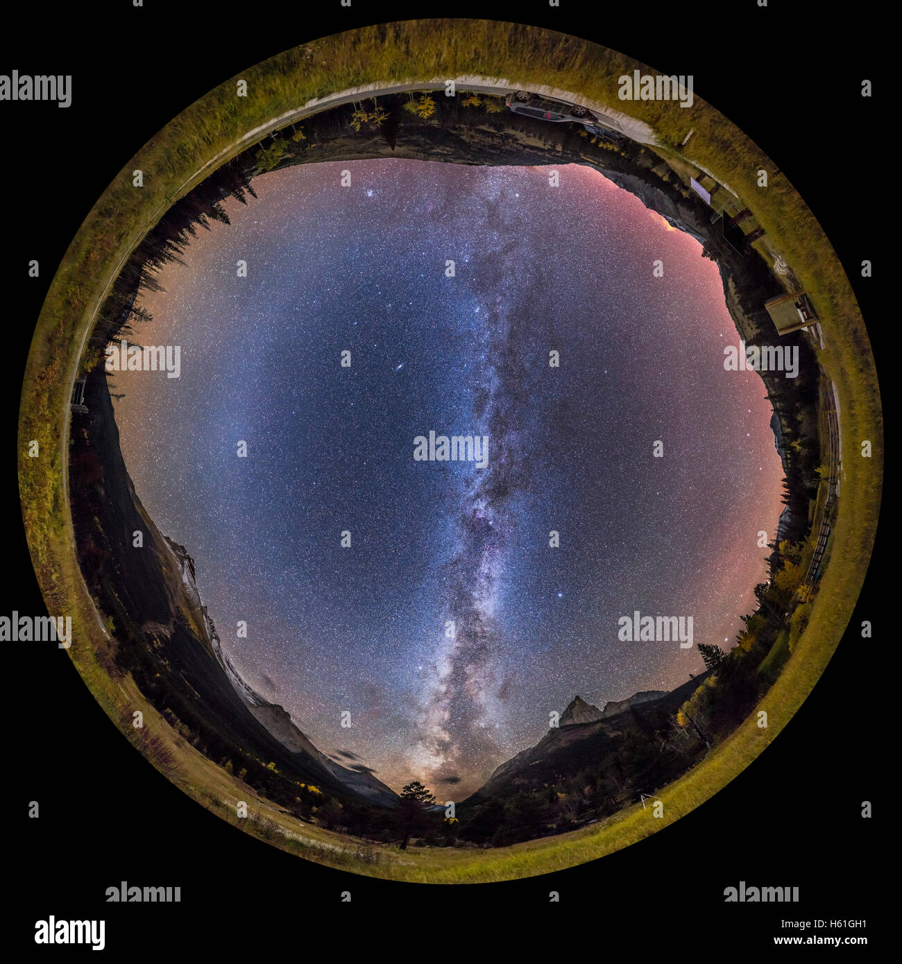 This is the Milky Way of the autumn season in the Northern Hemisphere, on a late September night, from the very - Stock Image