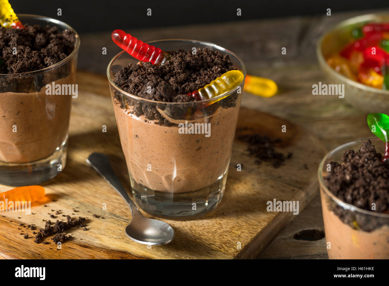 Homemade Chocolate Dirt Pudding with Gummy Worms - Stock Image