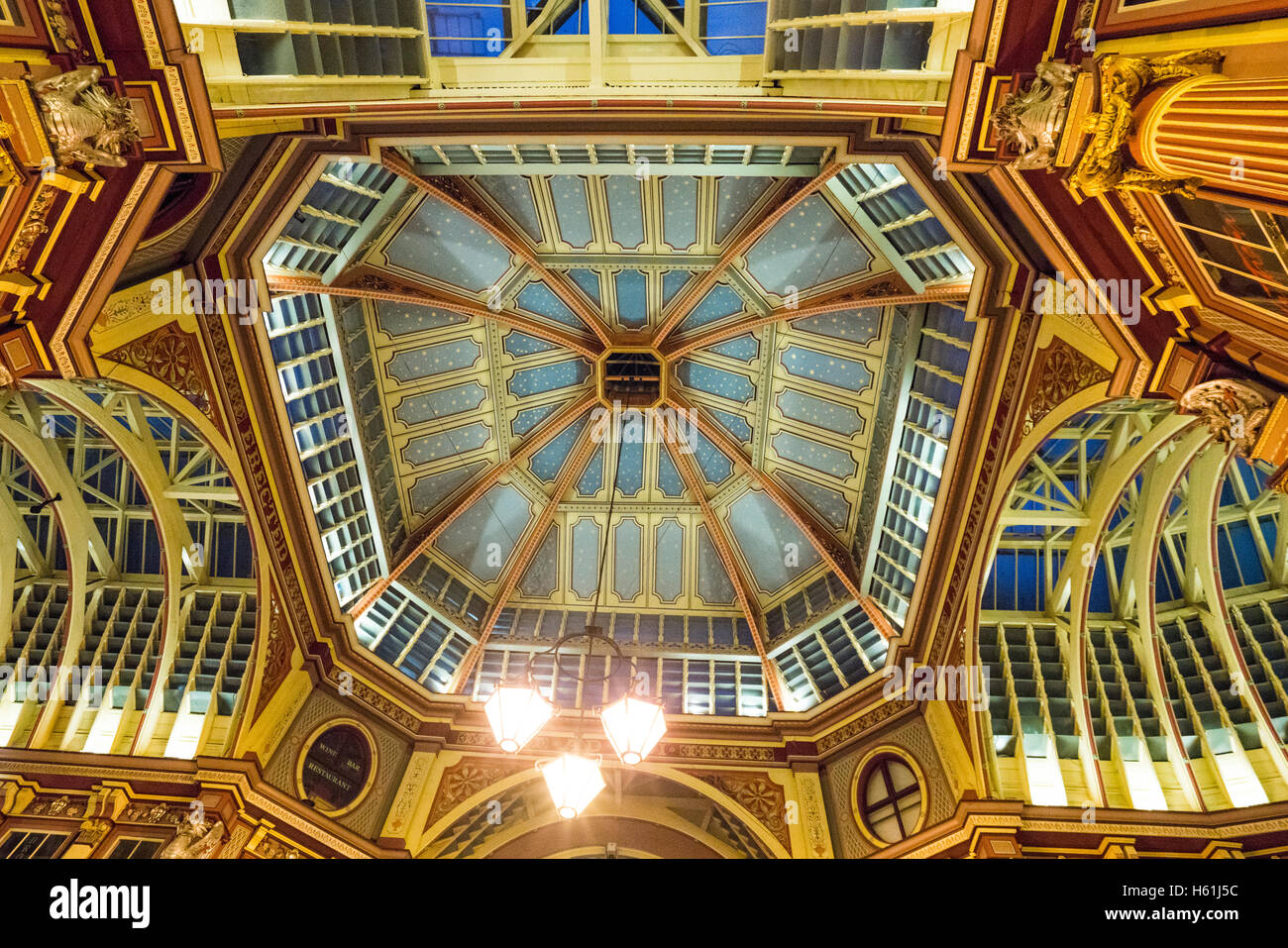 Beautiful ceiling of Leadenhall Market in London - Stock Image