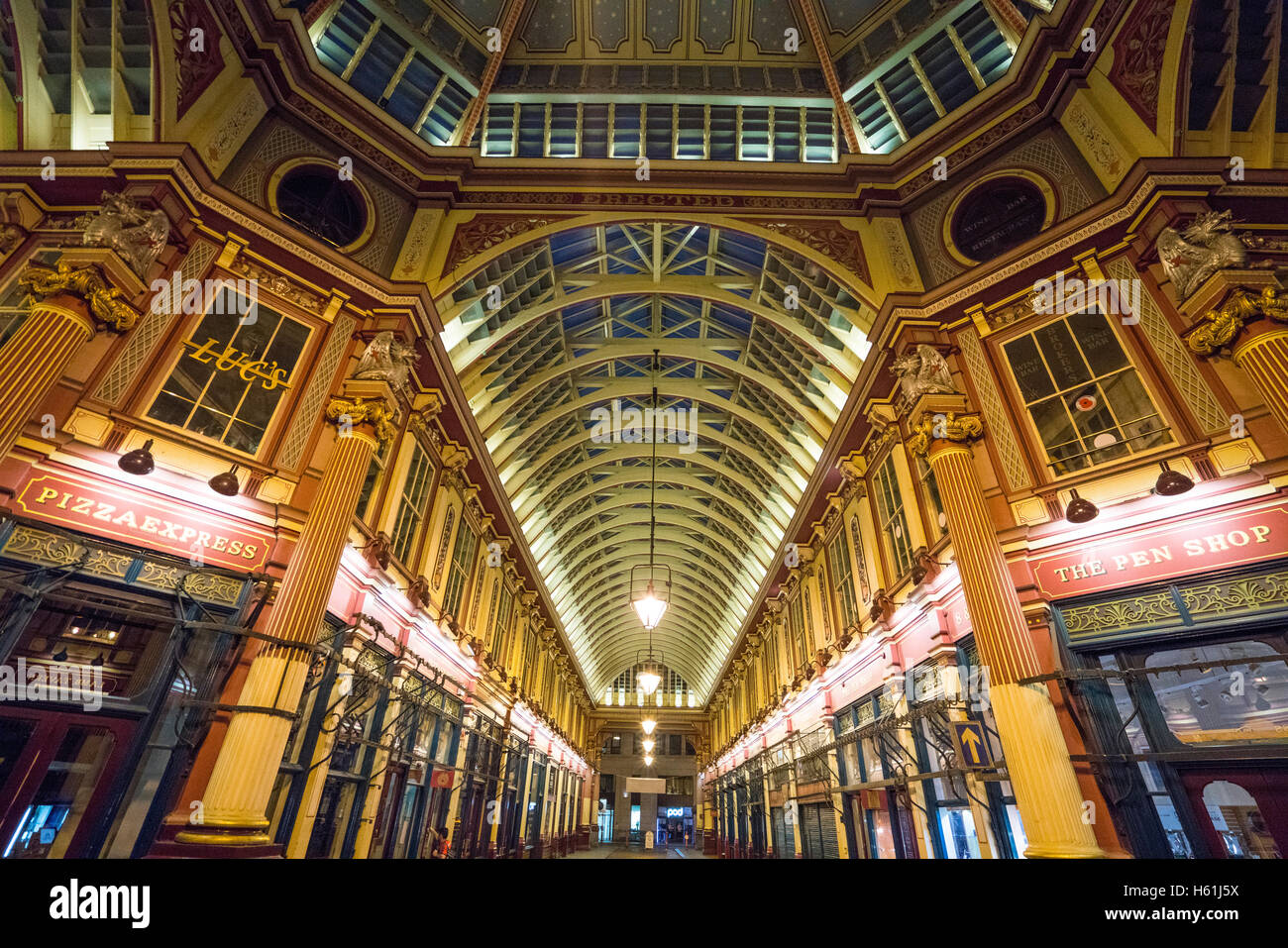 Popular tourist attraction in London - Leadenhall Market - Stock Image