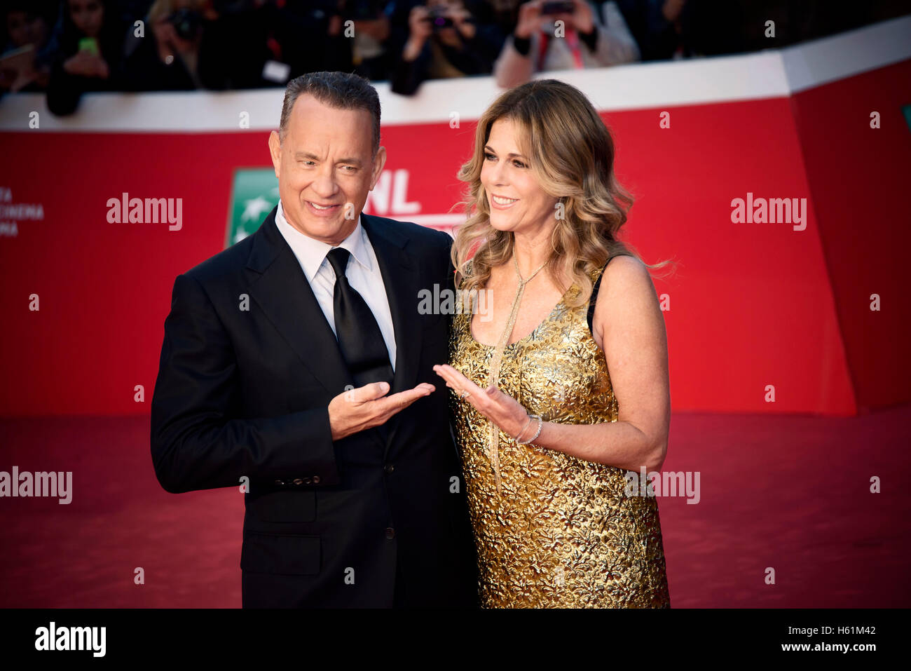 Tom Hanks and Rita Wilson attend the red carpet during the Rome Film Fest 2016 - Stock Image